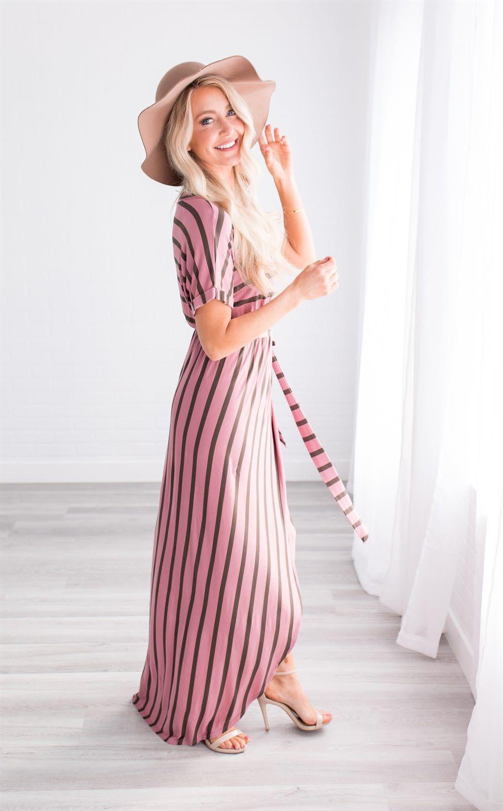 Hayley Striped Wrap Dress Midi Dress With Sleeves Dresses Wrap Dress [ 1600 x 993 Pixel ]