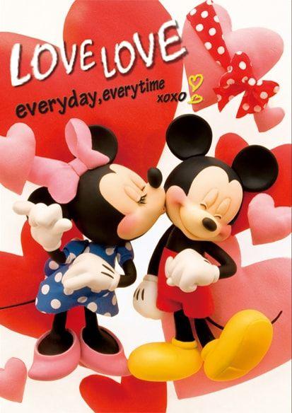ディズニー 3dポストカード いつもラブラブ ミッキー ミニー S3618