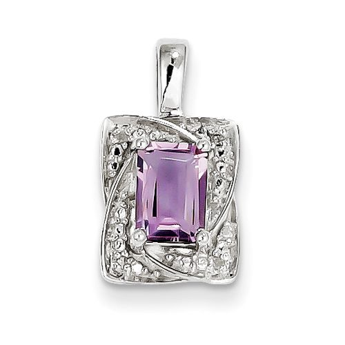 Sterling Silver Diamond & Pink Amethyst Pendant