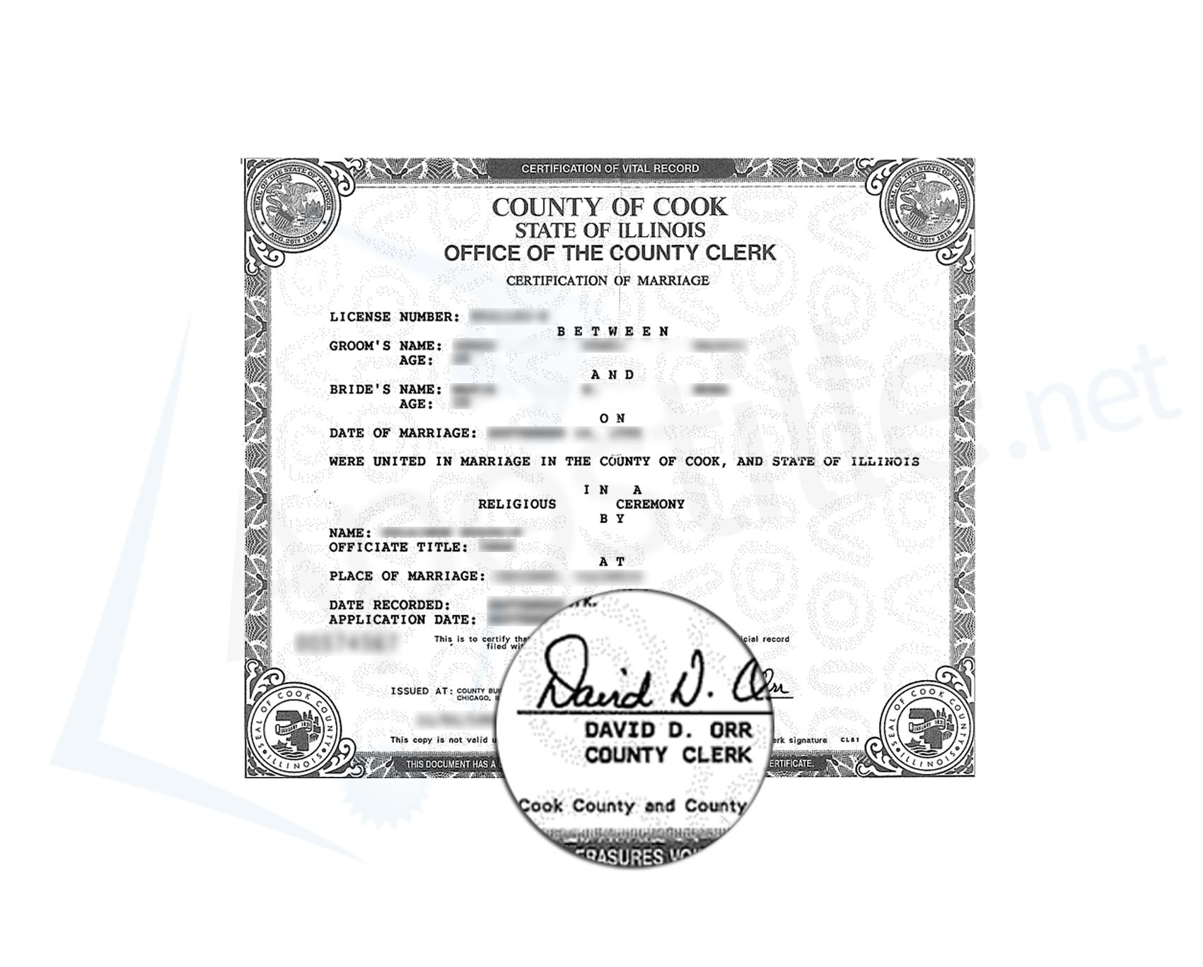 State of illinois certificate of good standing signed by jesse county of cook illinois certification of marriage signed by david orr xflitez Choice Image