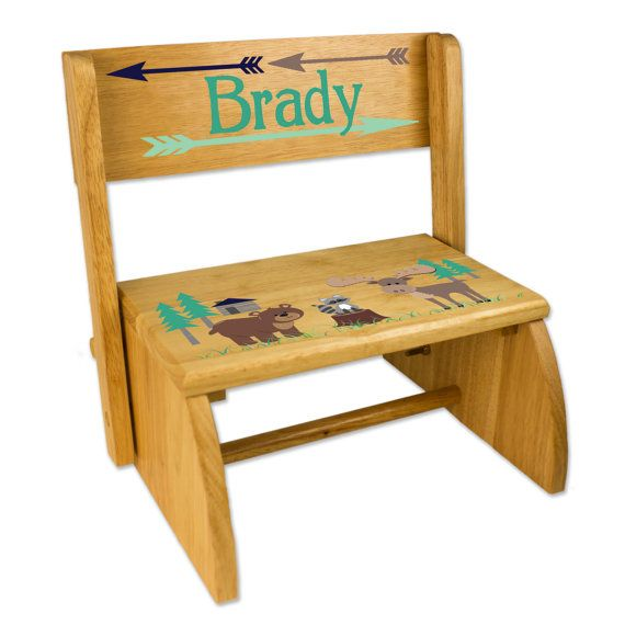 Personalized Northwood Animals Stool Country Cabin By