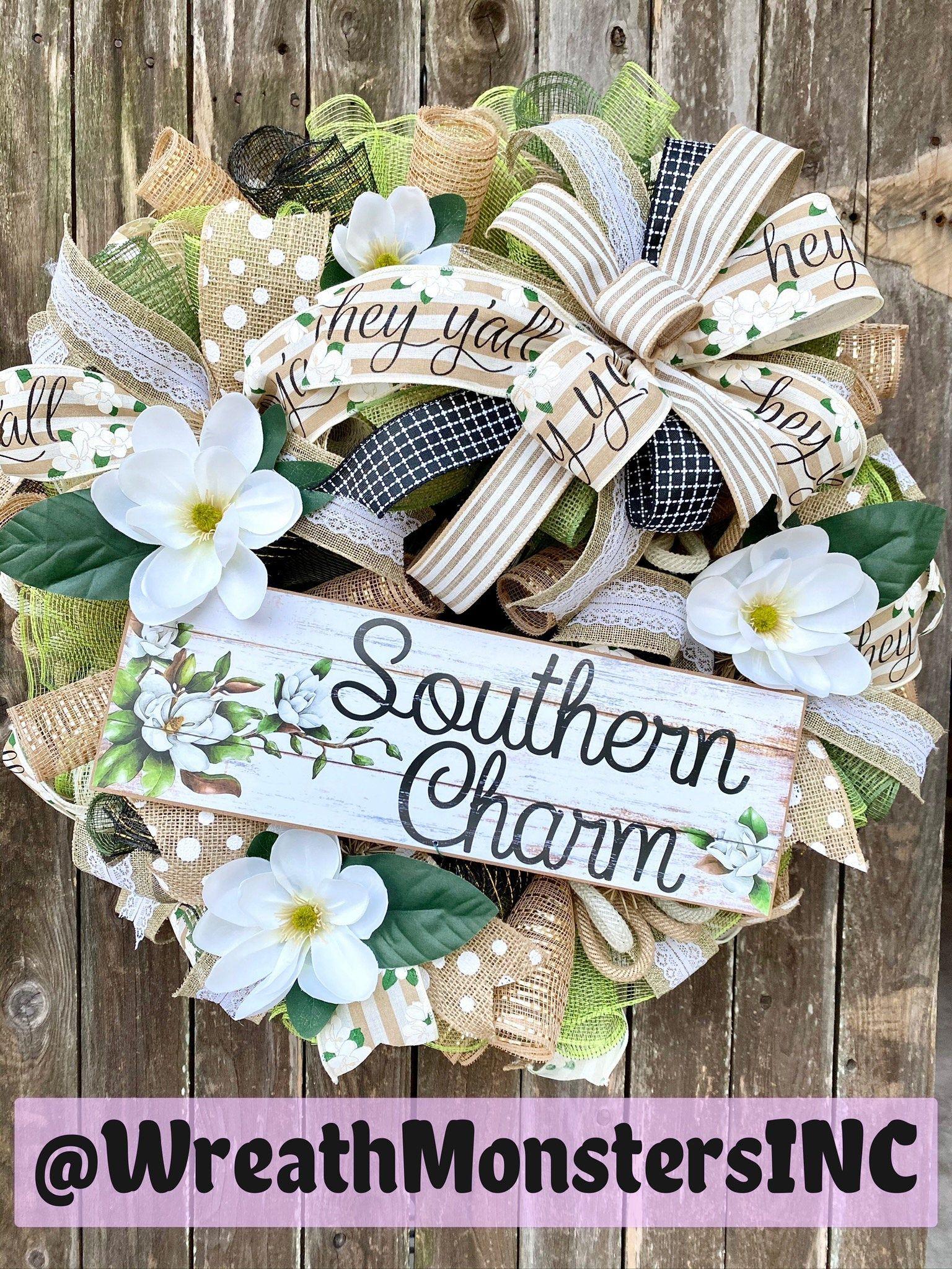 Photo of Southern Charm Magnolia Wreath, Magnolia Wreath, Burlap and White Magnolia Wreath, Southern Wreath, Farmhouse Wreath