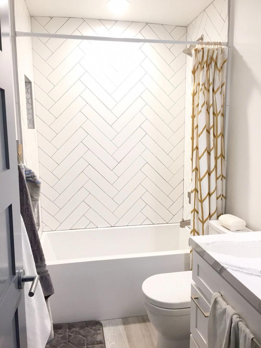 Guest Shower Herringbone White Subway Tile Gray Grout Gold