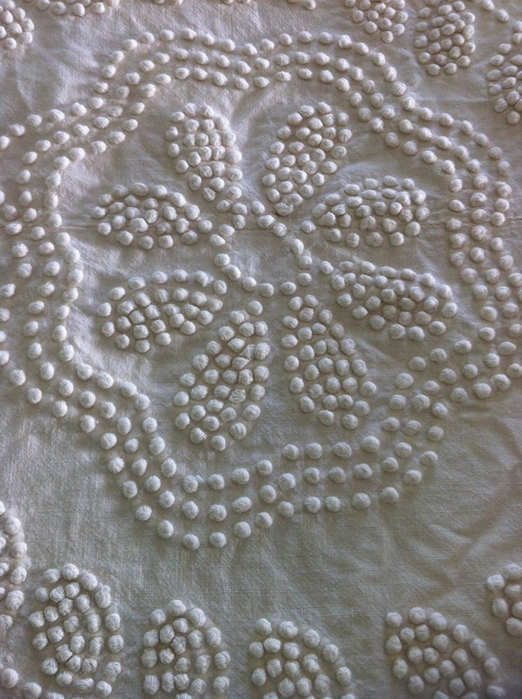 KING SIZED - Victorian Inspired Bedspread with French Knots & Handmade Fringe!