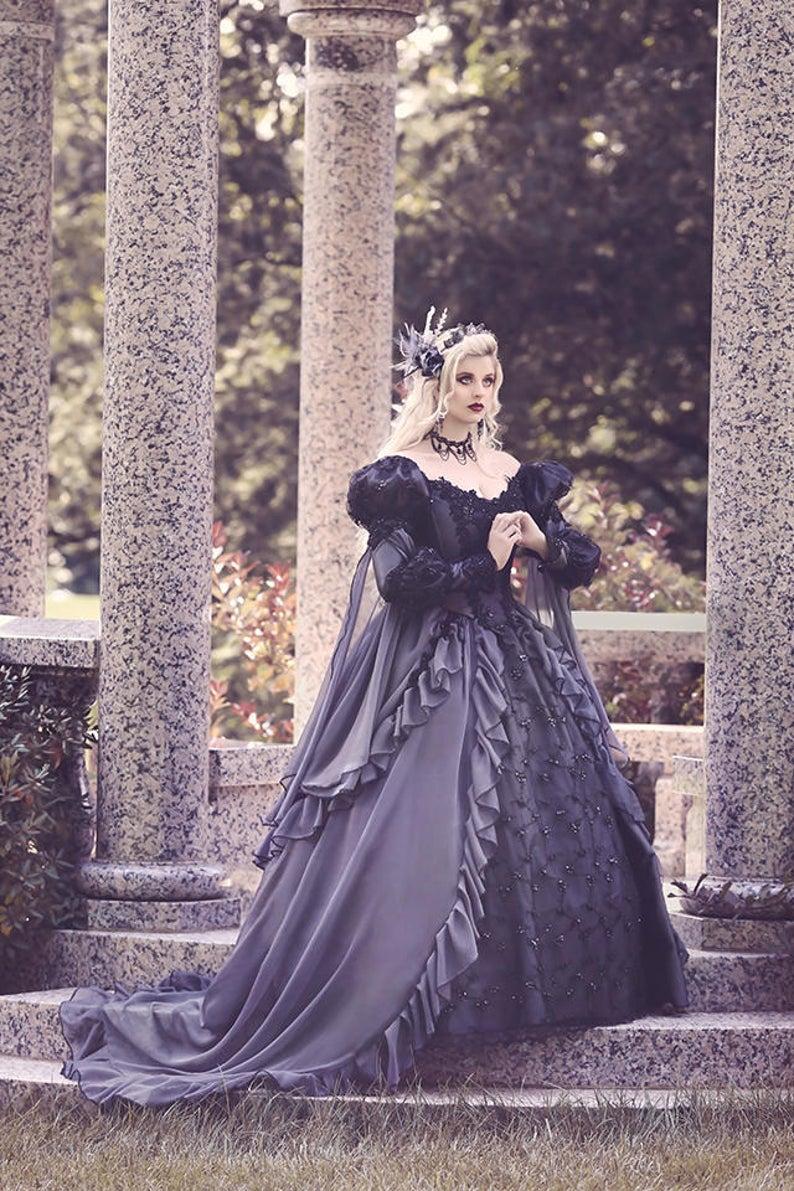 Custom Grey And Black Gothic Sleeping Beauty Halloween Etsy Gothic Wedding Dress Fantasy Gown Black Wedding Dresses [ 1191 x 794 Pixel ]