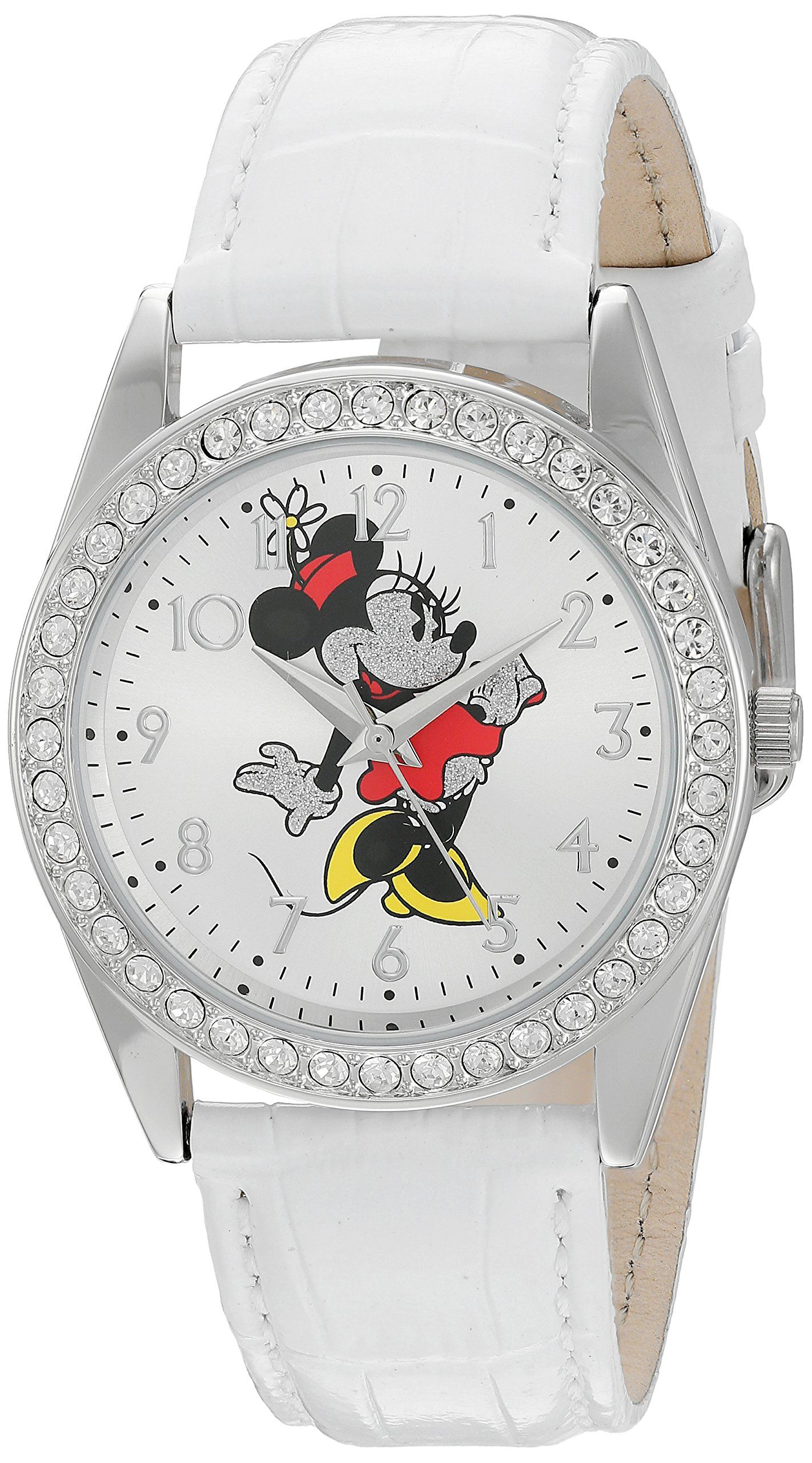 50d8d87b9 Disney Minnie Mouse Womens Silver Alloy Glitz Watch White Leather Strap  W002764 >>> Check this awesome product by going to the link at the image.