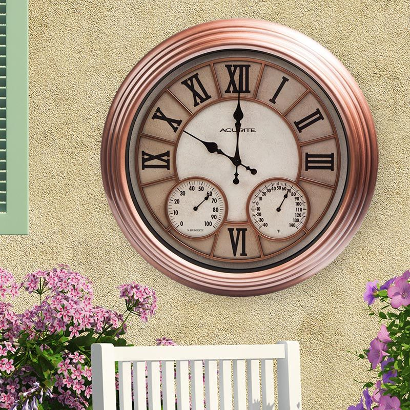 b3dc0b8793d 18-inch Copper Metal Outdoor Clock with Thermometer and Humidity ...