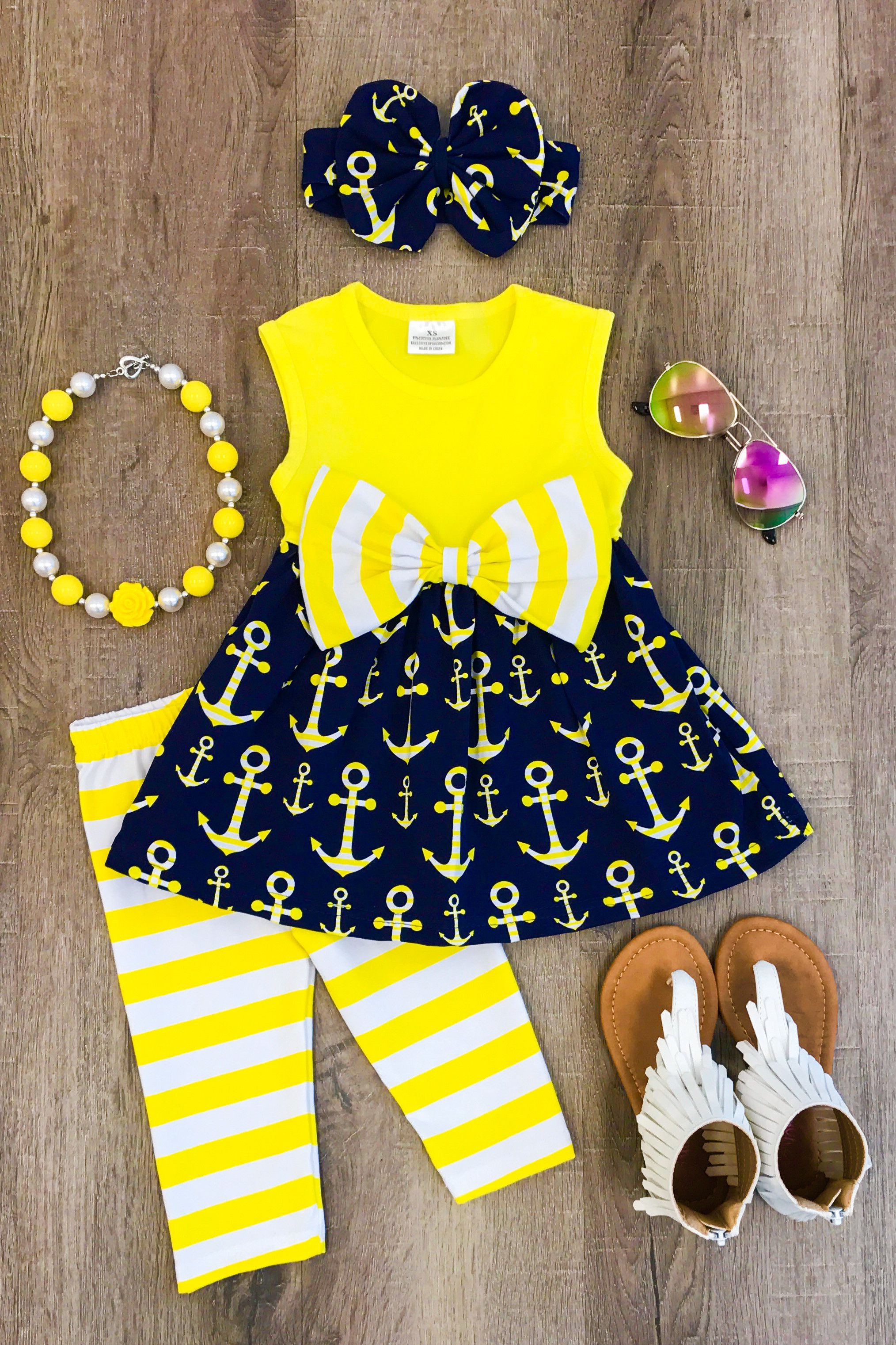Yellow Stripe Anchor Capri Set