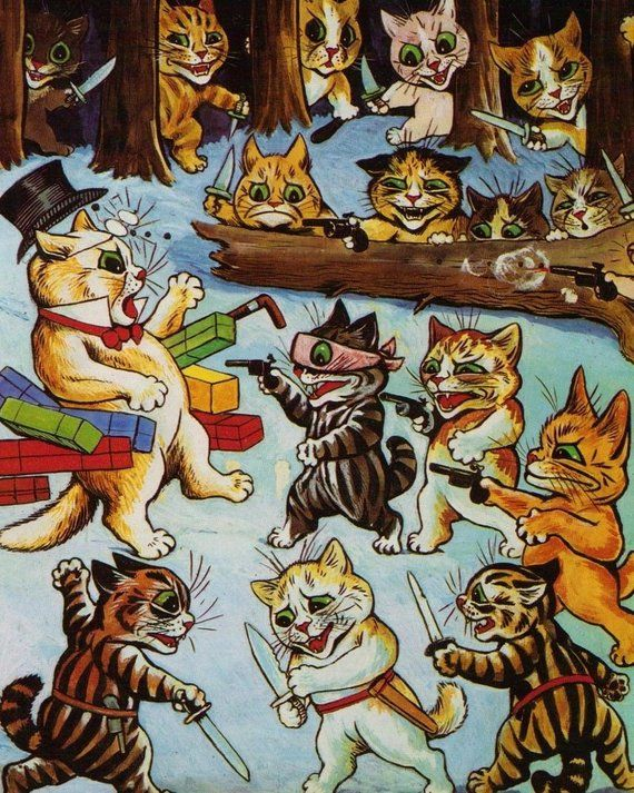 Louis Wain Cat Print The Ambush Robbers and Brigands Funny