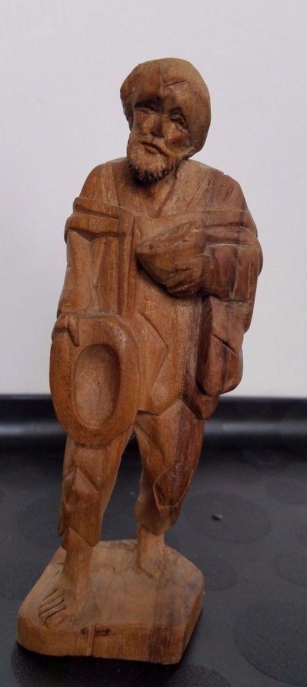 Hand Carved Wooden Old Man Street Merchant Sculpture