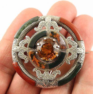 Superb-big-Antique-Victorian-c-1890-silver-Scottish-agate-citrine-brooch-pin