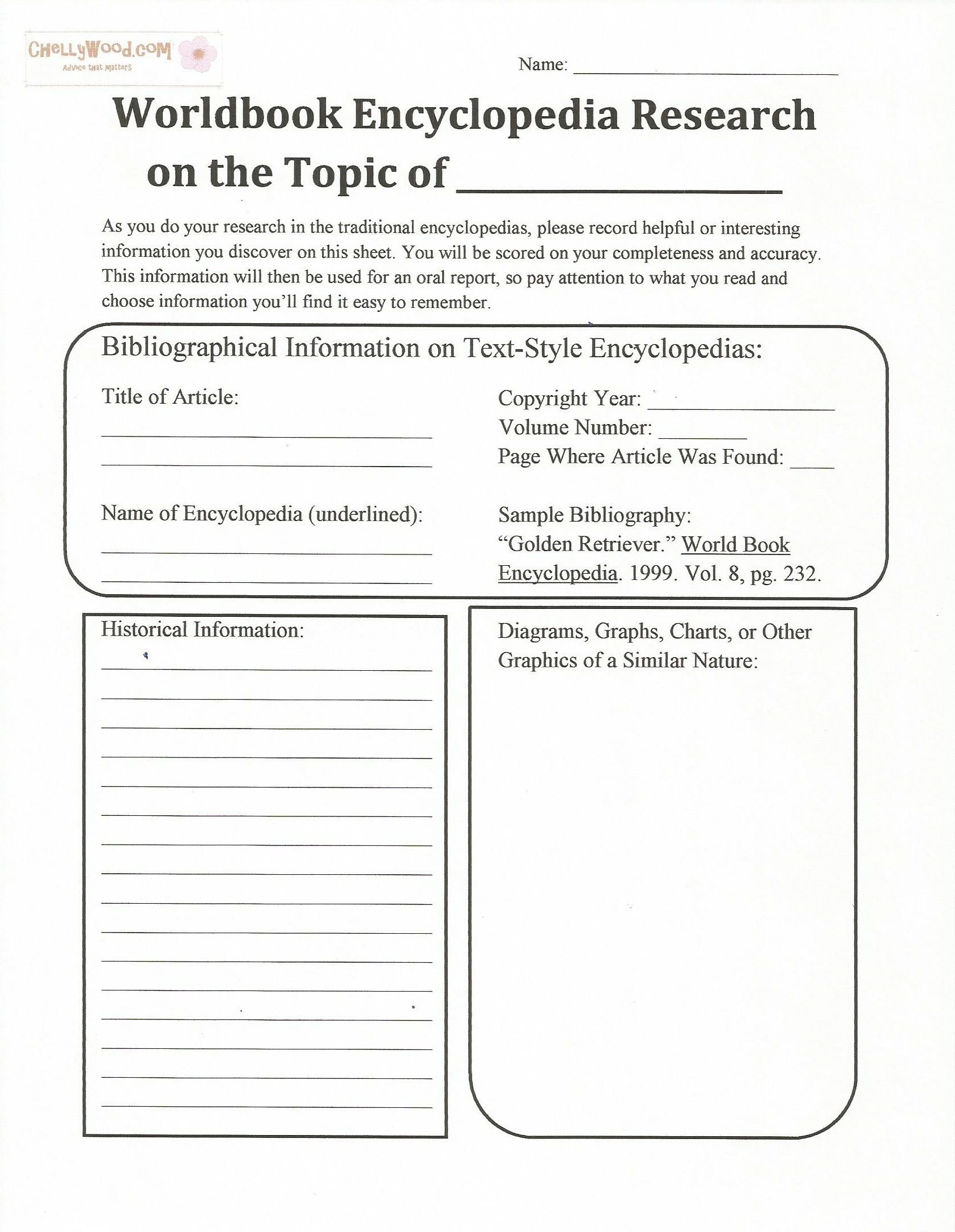 Worldbook Research Worksheet For Middle Schoolers Pg 1