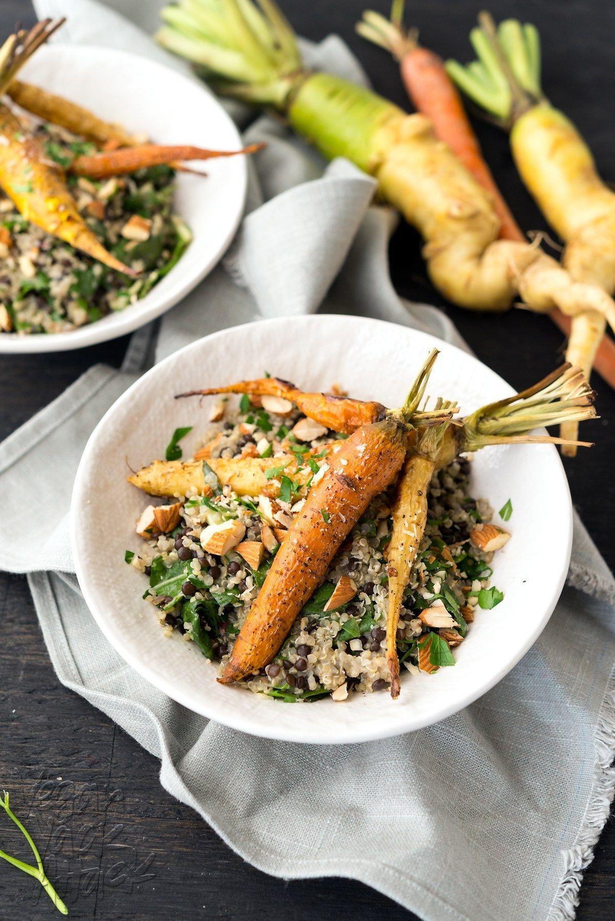 Roasted Carrots & Creamy Quinoa Roasted carrots, Healthy