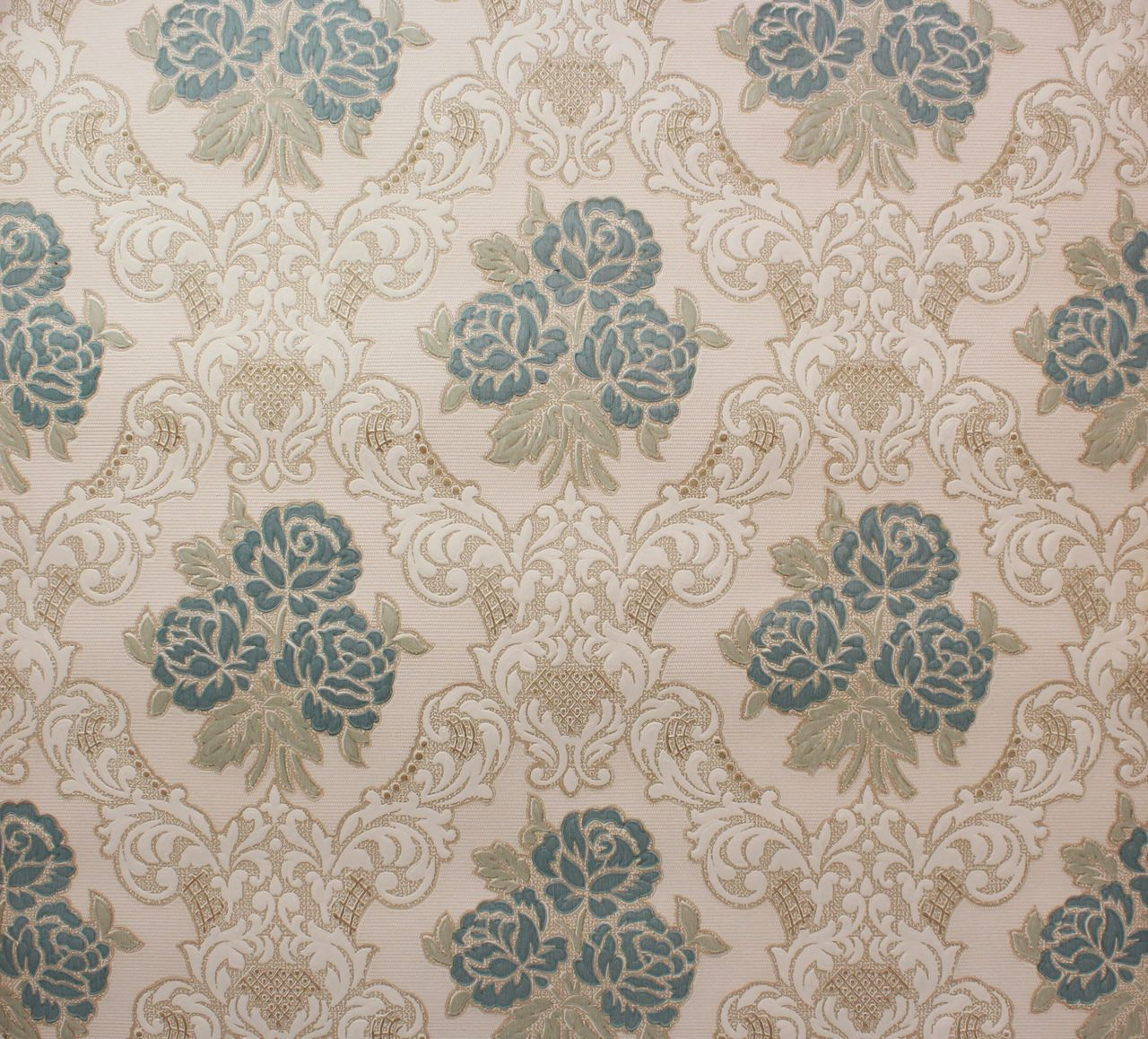1960s Vintage Wallpaper Embossed Blue Roses Peebles