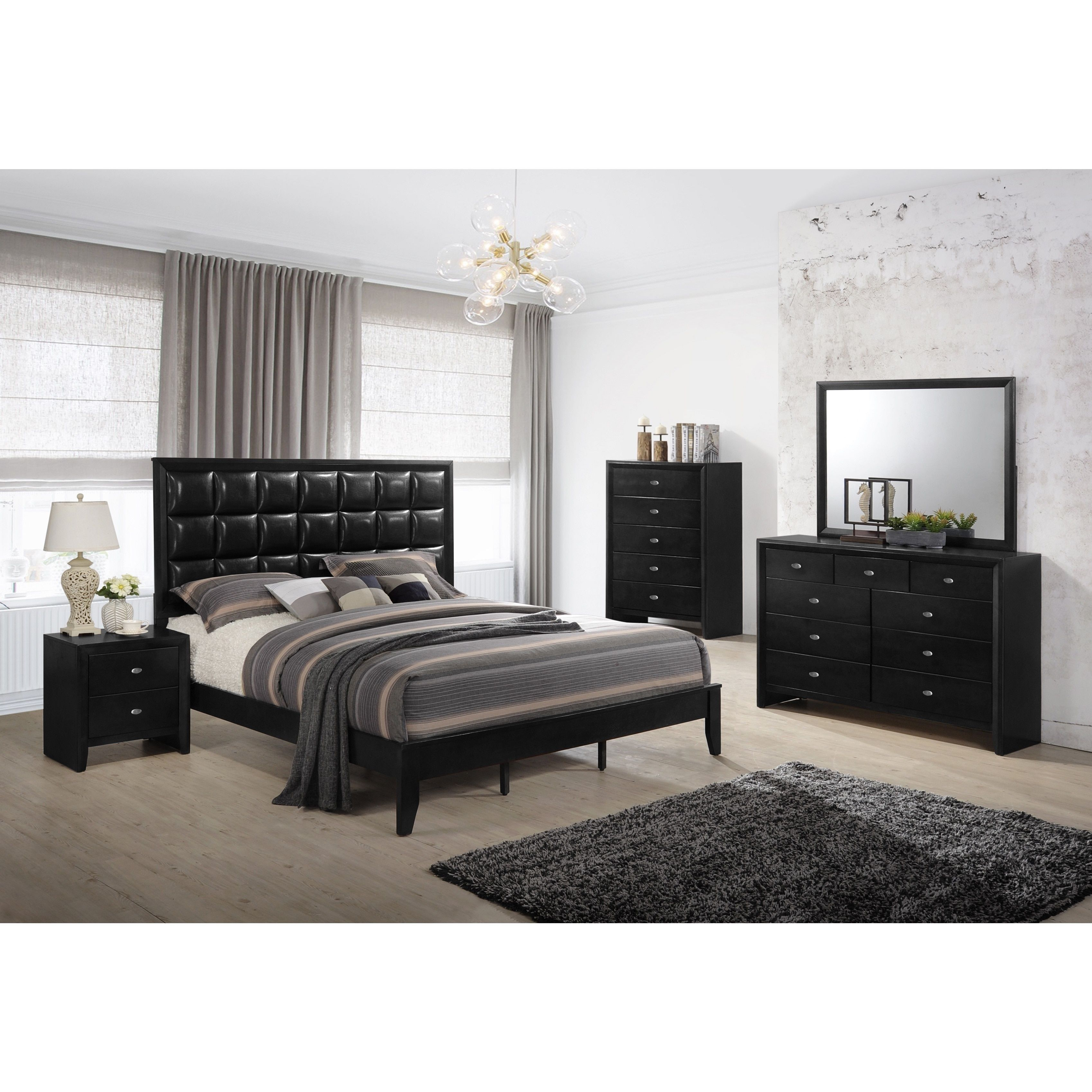 Gloria black finish wood and upholstered bed room set queen bed