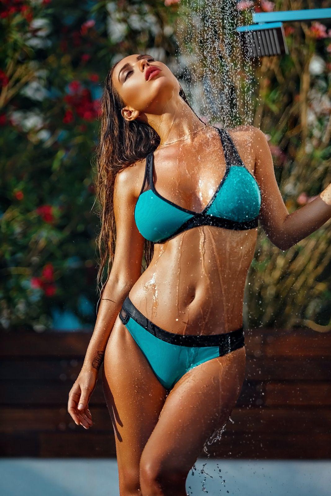 Hot wet bikini model