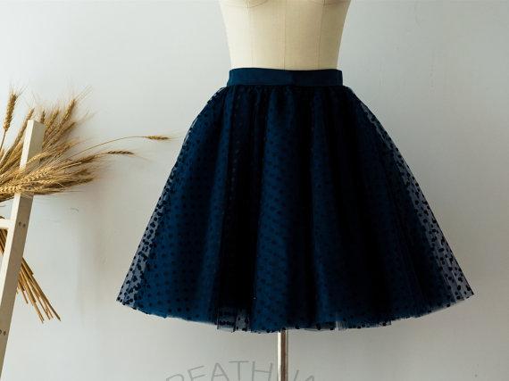 Light Gray Bridesmaid Dresses Knee Length Soft Tulle: Navy Blue Polka Dots Tulle Skirt/Short Women Tulle Skirt