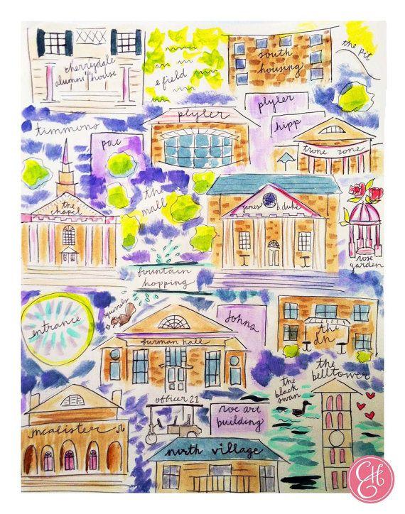 0676459e7287c Furman University Map Print by EvelynHenson on Etsy, $30.00 | Art ...
