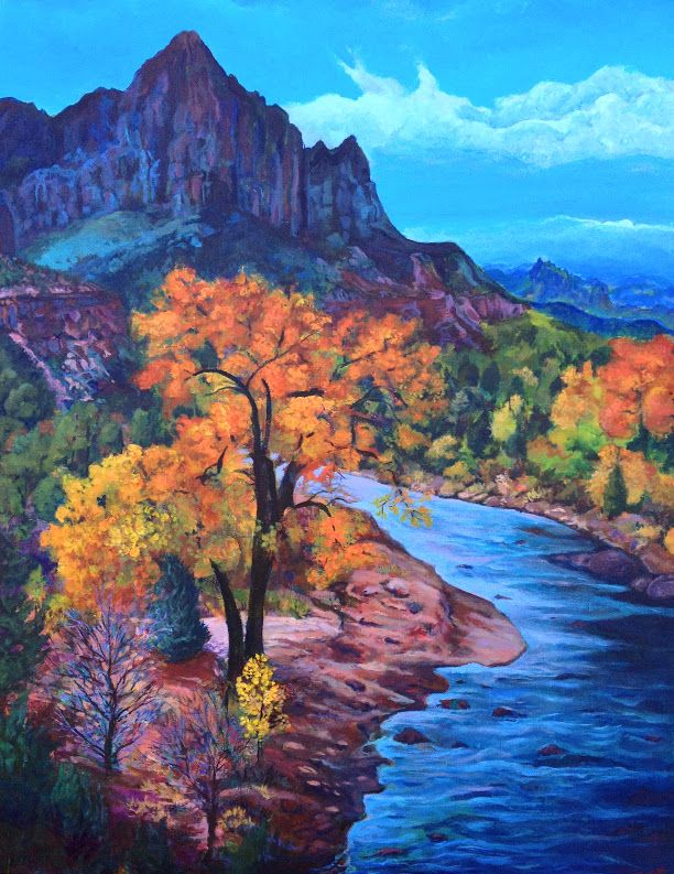 """Autumn's Last Days"" 40 x 30 acrylic on canvas.  Thank you to Renee Sullivan, Las Vegas based photographer for the inspirational photo of The Watchman in Zion Ntl. Park, Utah"