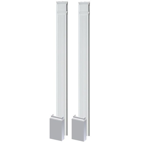3 1 2 Inch W X 108 Inch H X 1 5 8 Inch P Fluted Pilaster W Adjustable Plinth Block Set Of 2 Plinth Blocks Interior Columns Plinths