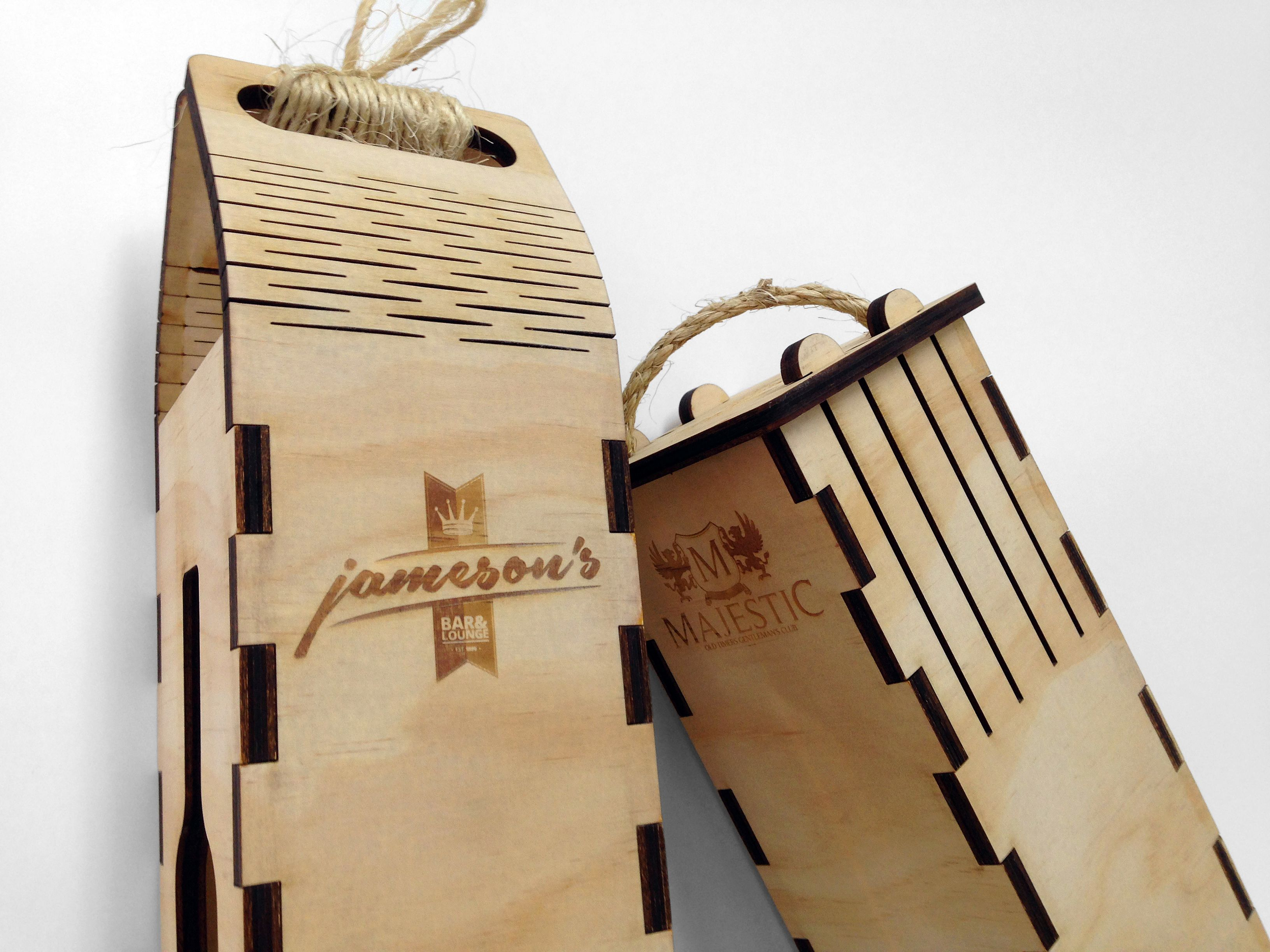 Custom Wine Gift Boxes Laser Etched And Cut From 7Mm