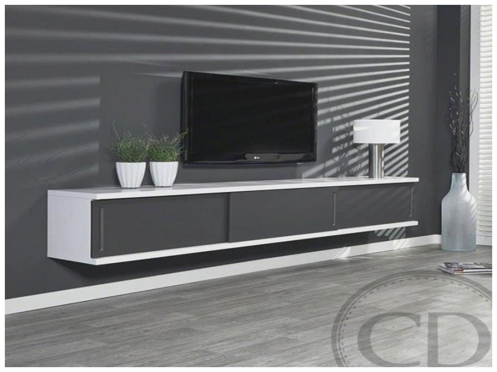 elegant meuble tv suspendu gris laque