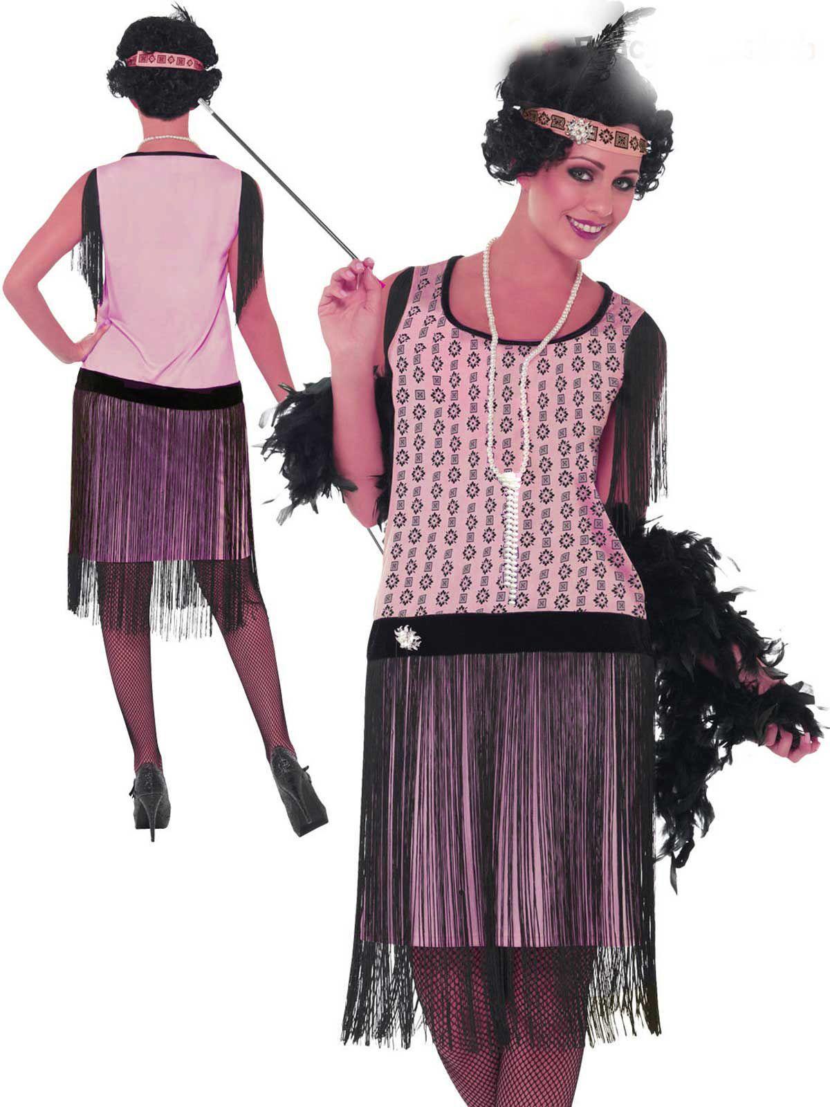 1920 s Pink Gatsby Nouveau Black Fringe Charleston Flapper Dress Af Dr 4040 a80395dca9fde