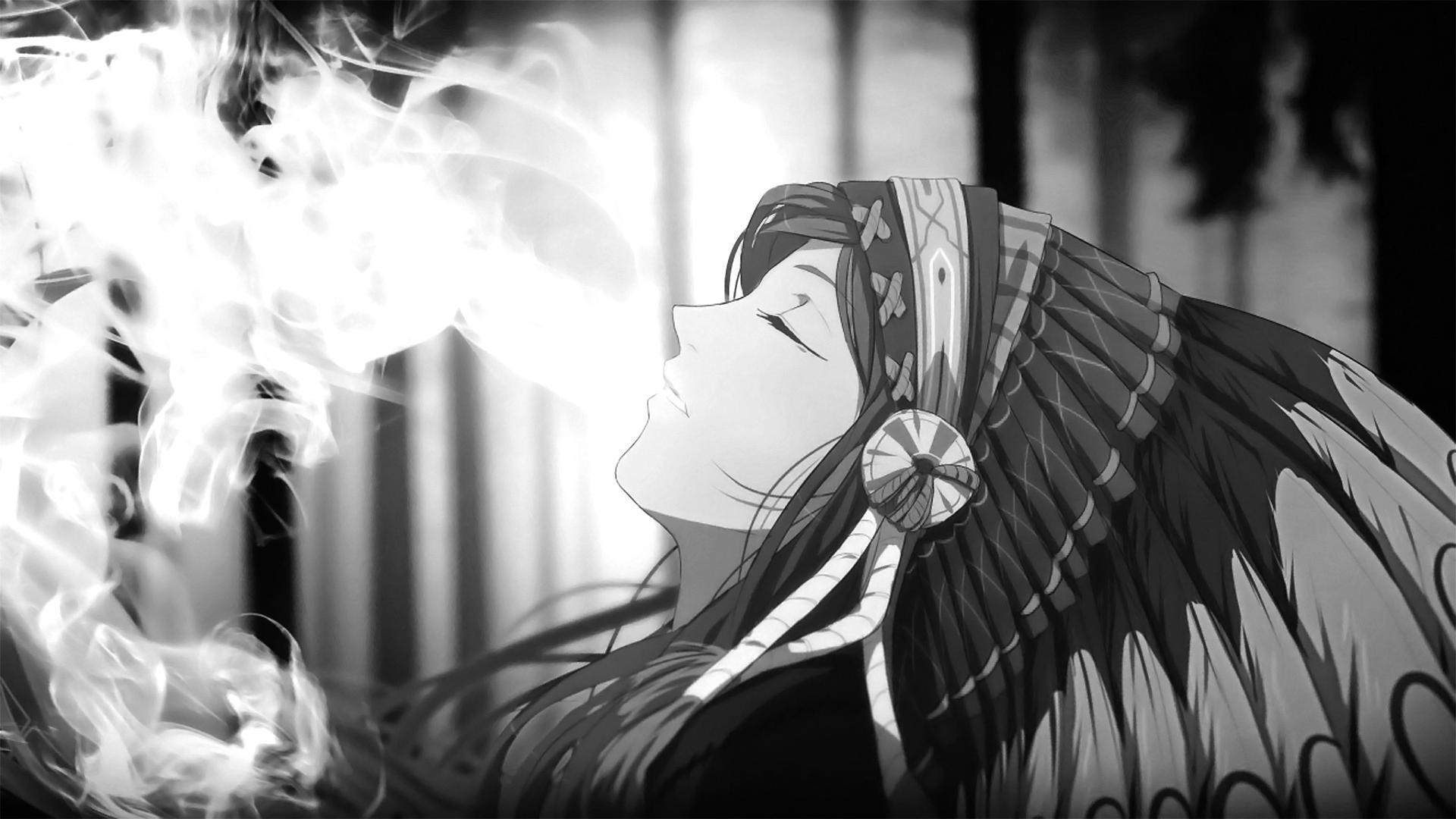 Download Hd Anime Girls Smoke Headdress Monochrome Anime Desktop Background Images Download Wallpaper Hd Background Images