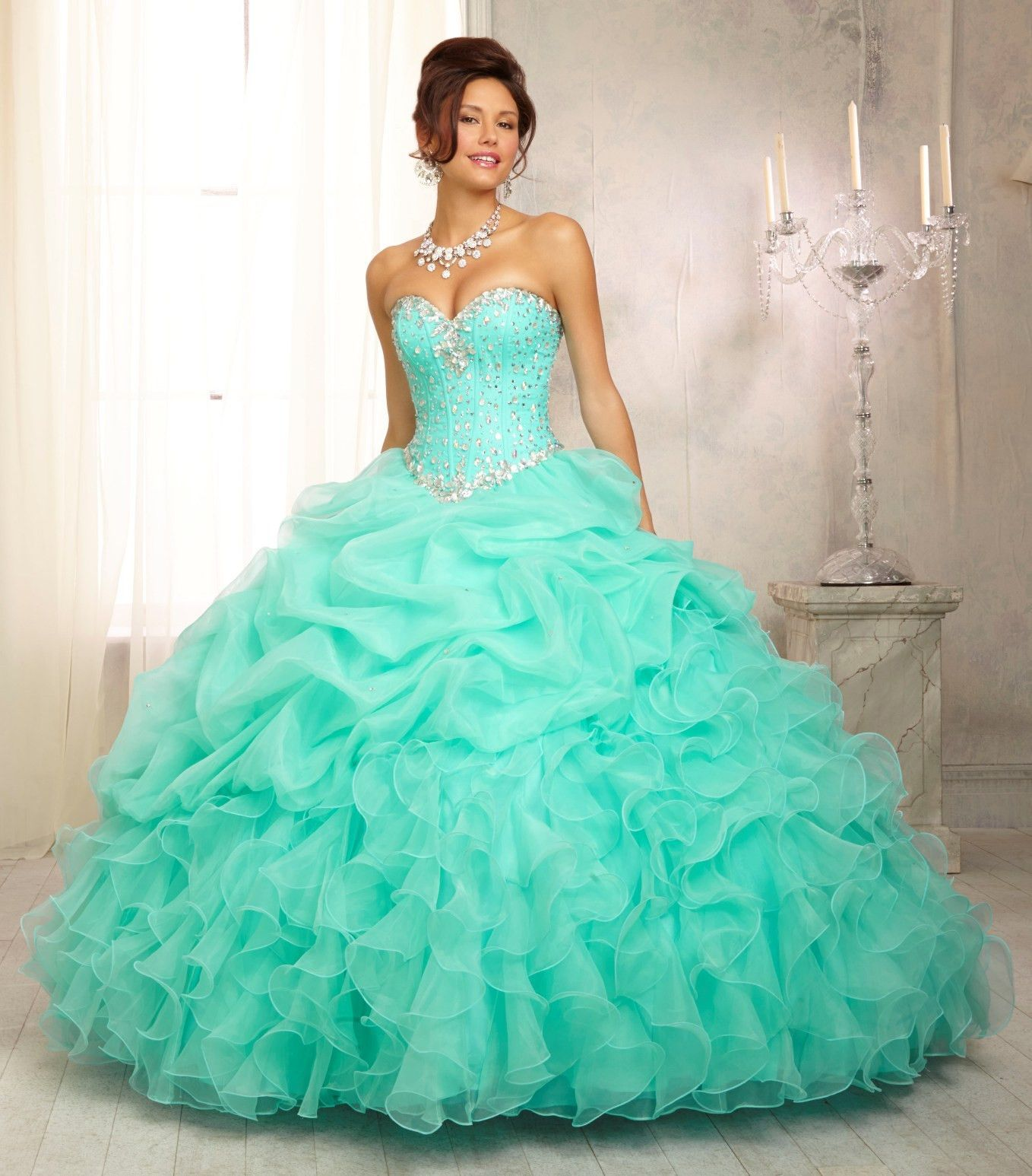 Strapless Ruffled Quinceanera Dress By Mori Lee Vizcaya