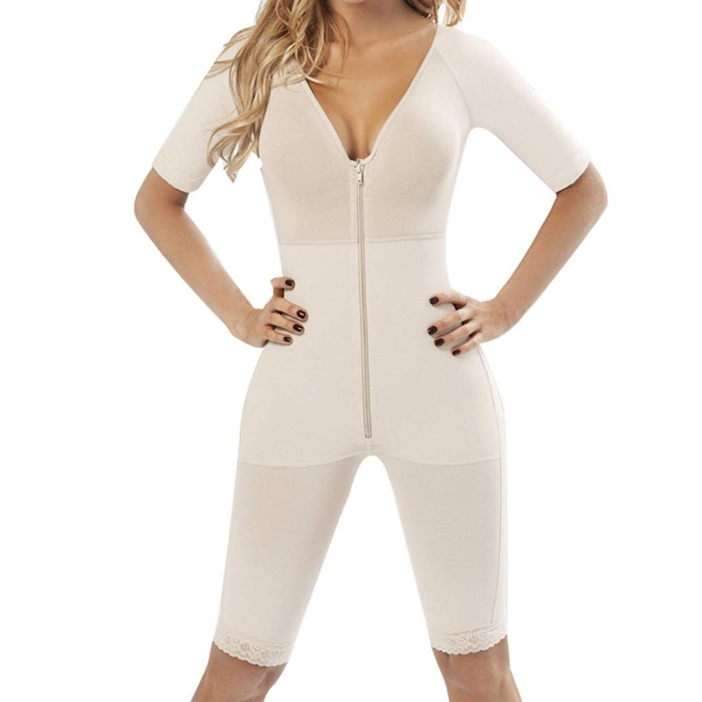 c55af3375f Full Body Shaper Women Deep V Lingerie Sleeve Shapewear Zip up Slim Thigh  Tight Bodysuit Seamless   Check out this great product.