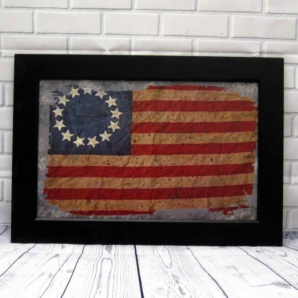 Our 13 Star Primitive Betsy Ross Flag Print In A Black Wooden Frame Is Perfect For Americana Home Decor Measures 14 Framed Flag Country Primitive Wall Signs