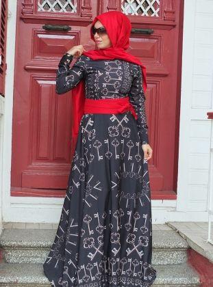 38366b7c8b3fa Anahtar Elbise - Lacivert - Esra Üstün | moda | Hijab dress, Dresses ...