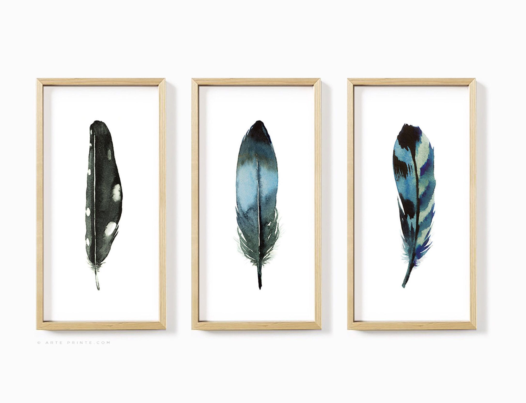 Feather Wall Art Set Of 3 Prints Extra Large Narrow Boho Etsy Feather Wall Art Wall Art Sets Feather Wall