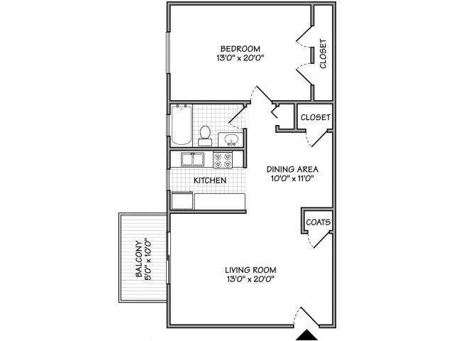 Small Flat Plan 1 bed / 1 bath apartment in westminster md | willowood apartments