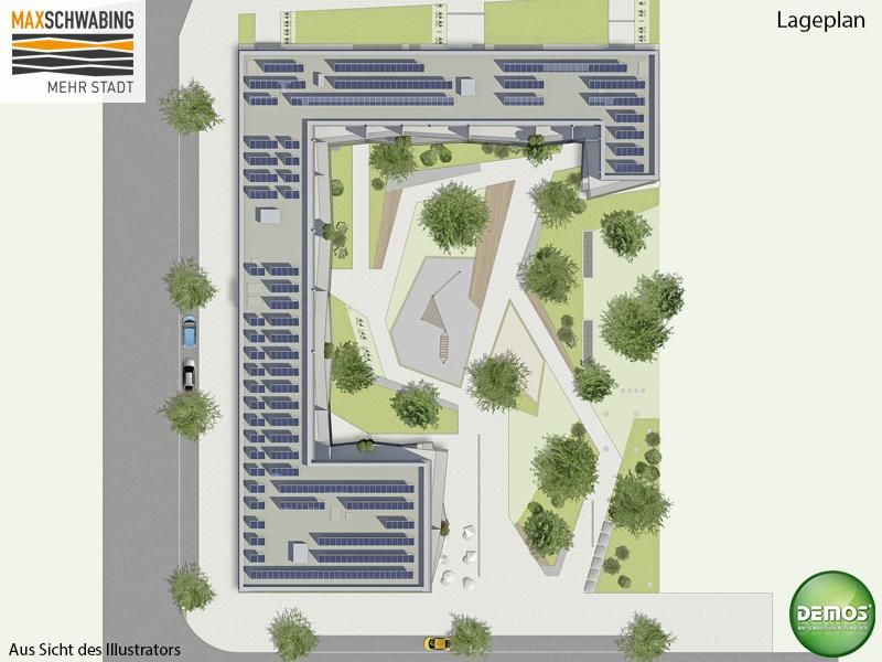 Lageplan - MAX SCHWABING #maxschwabing #Lageplan #Freiflächenplan #Illustration #Visualisierung #Architektur #Architecture #Neubau #Neubauprojekt #Eigentumswohnungen #Dachterrasse #Balkon #Loggia #München #Schwabing