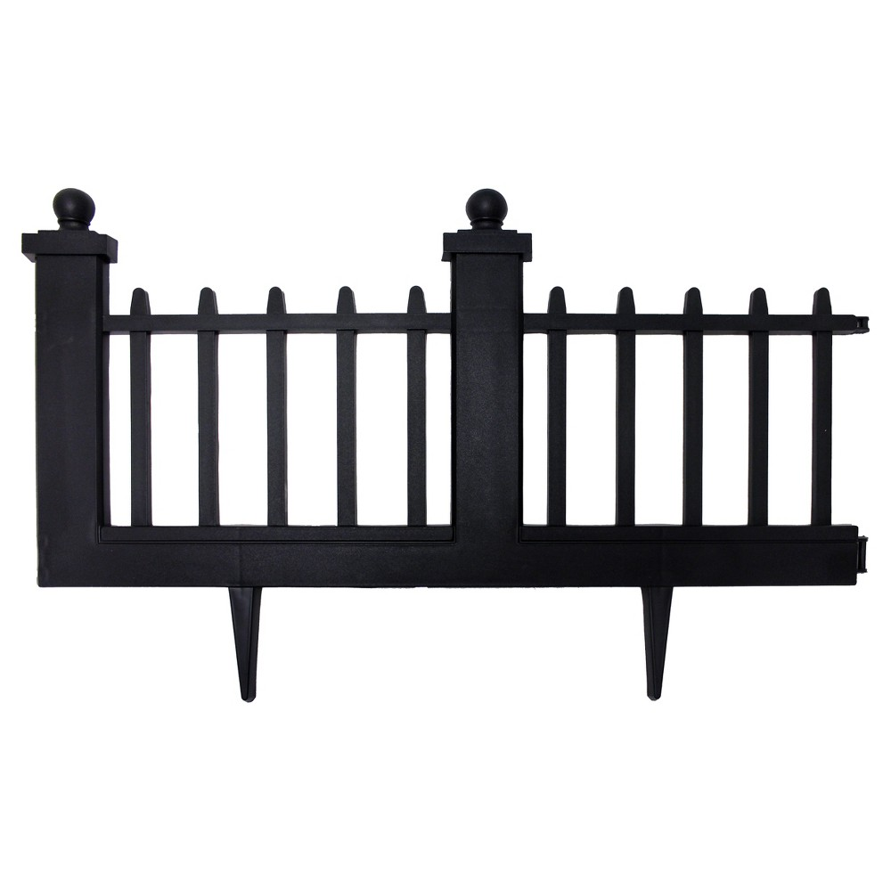 polyethylene deluxe wrought iron fence border pc black