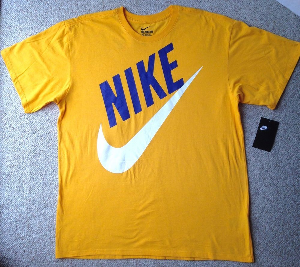 new25 NIKE SWOOSH BIG SLANT LOGO TSHIRT Yellow Blue