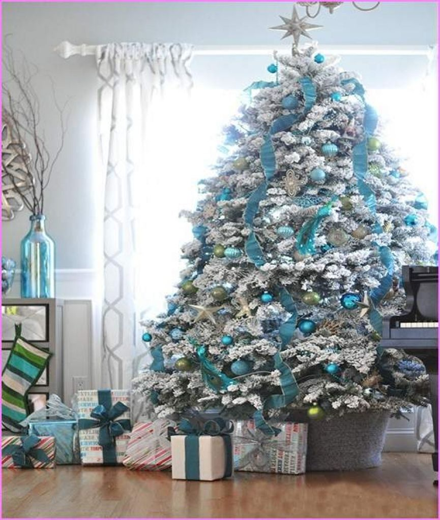 Christmas Tree With Silver Decorations: Christmas Tree Decoration Blue And Silver Blue And Silver