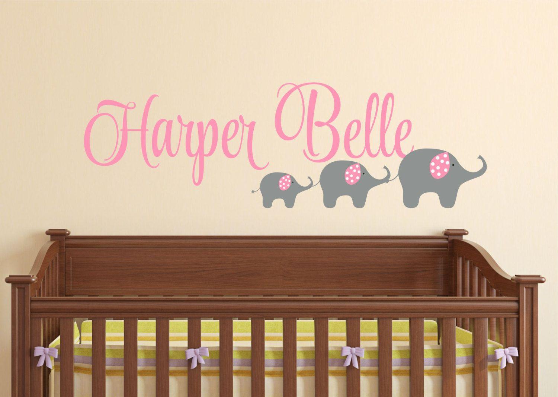Nursery Elephant Wall Decal S Name