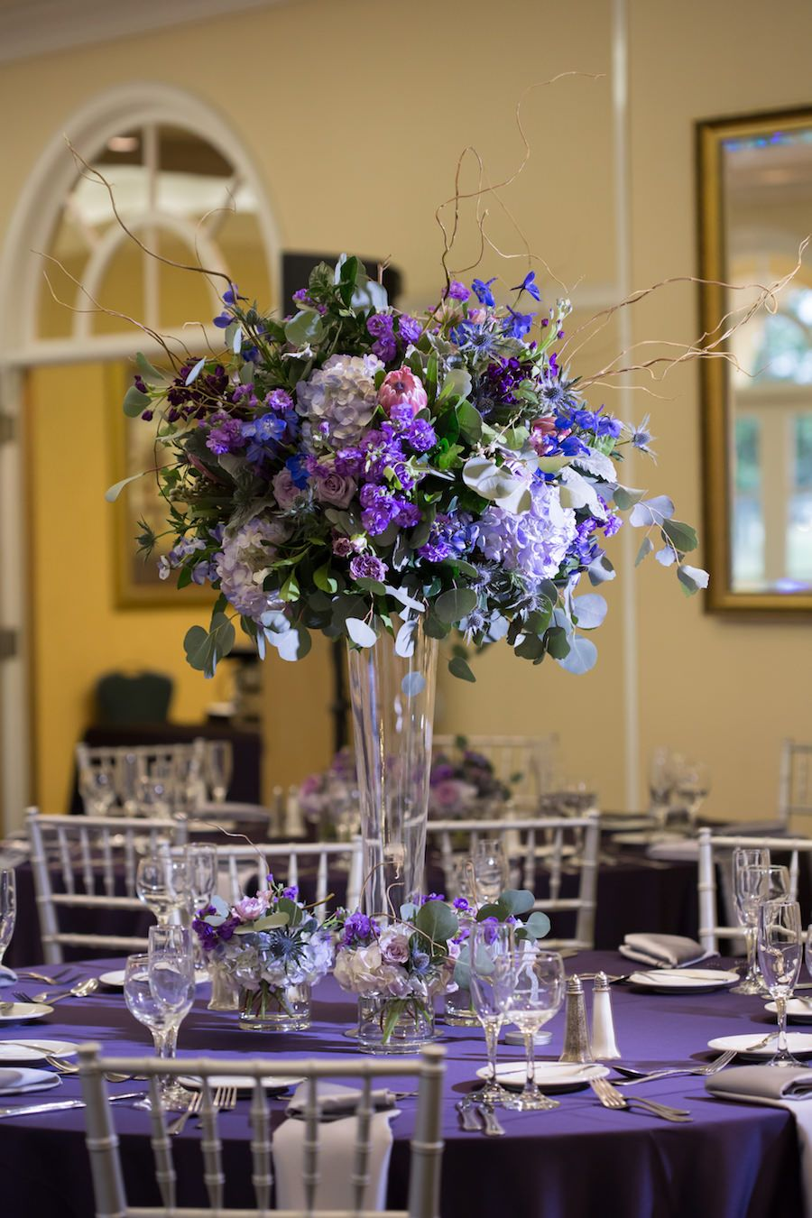 Outdoor Purple And Silver Country Club Wedding Purple Wedding