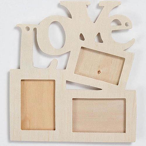 DIY Frame Photo Wood Hollow Love Letter Family Photo Wooden Picture ...