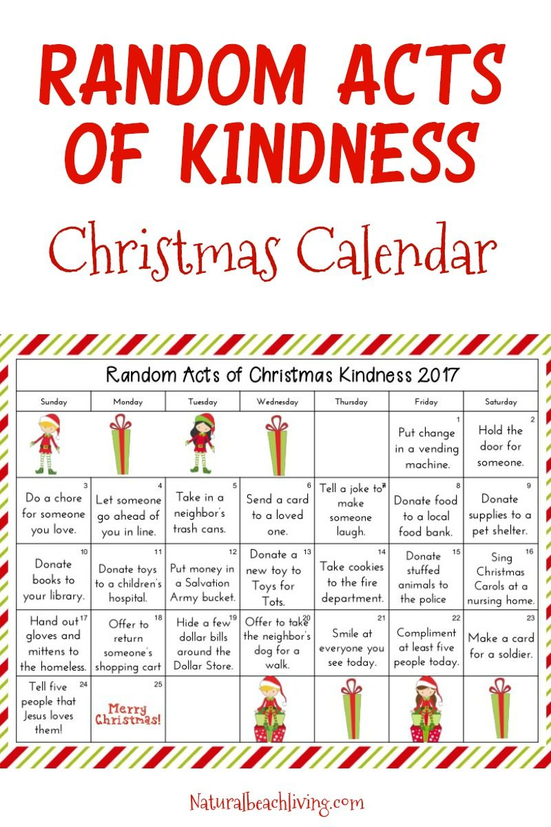 Random Acts Of Christmas Kindness 2020 Random Acts of Kindness Christmas Calendar   Kindness Advent