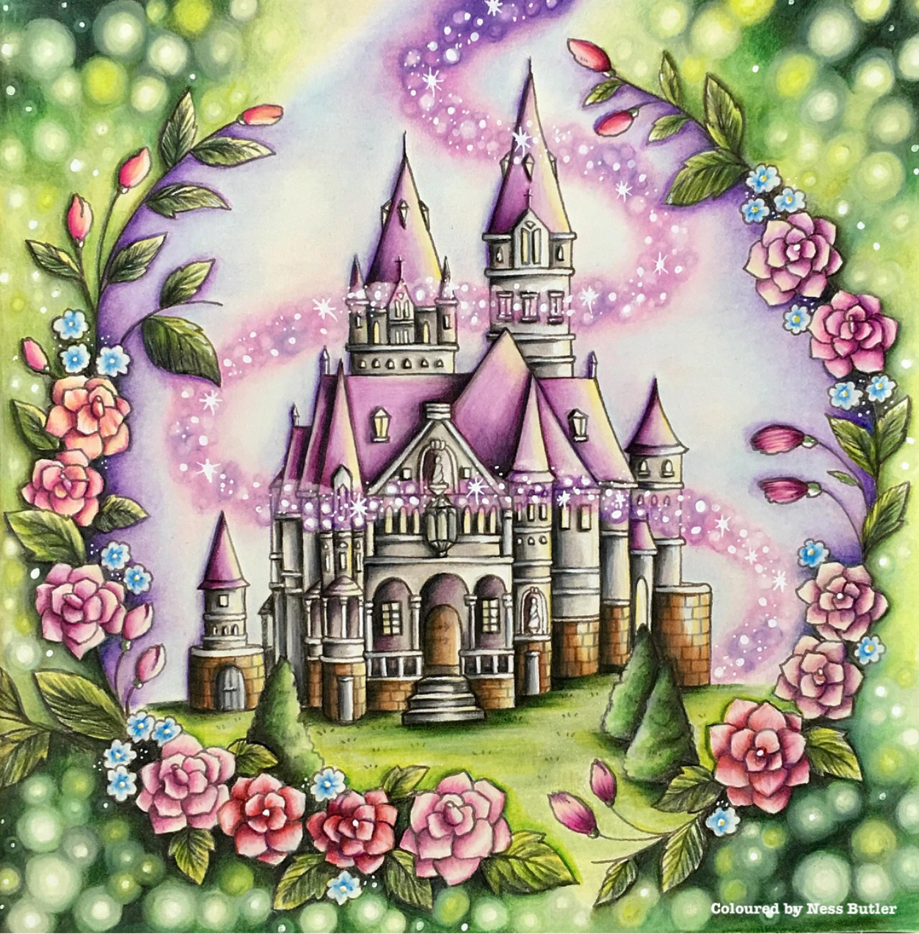 Romantic Country Coloring Book Eriy Ness Butler Polychromos Pencils