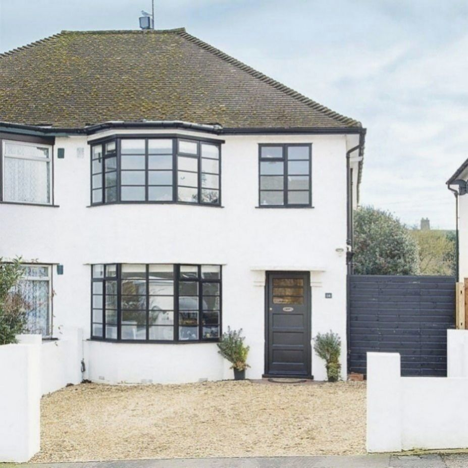 Be Inspired By This Characterful 1940s Semi Detached Home In Hertfordshire Ideal Home In 2020 White Exterior Houses Gray House Exterior House Exterior