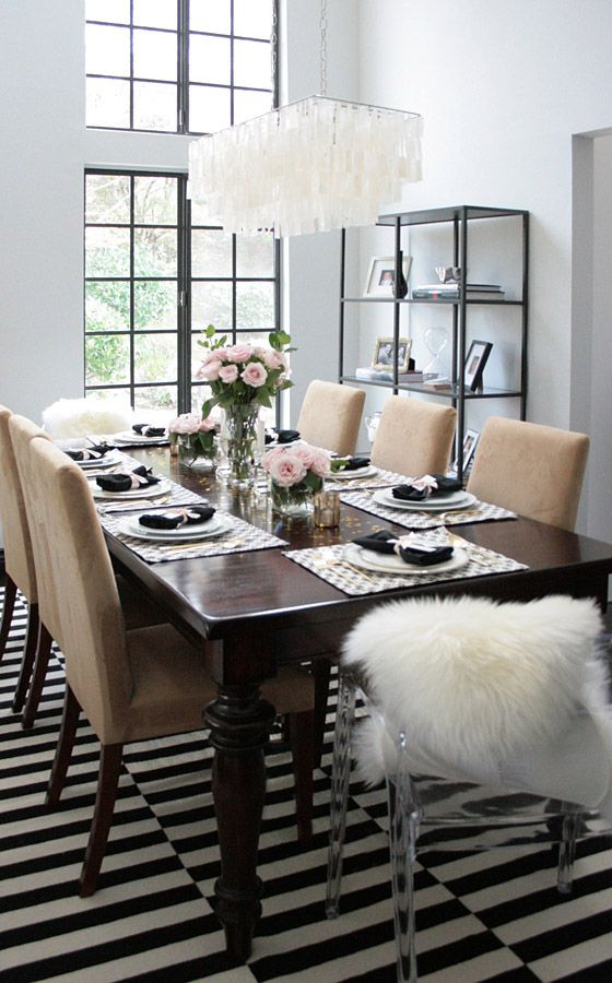 Dinner Party Table Black White Pink Gold Erika Brechtel Home Dinner Party Table Dining Room Design