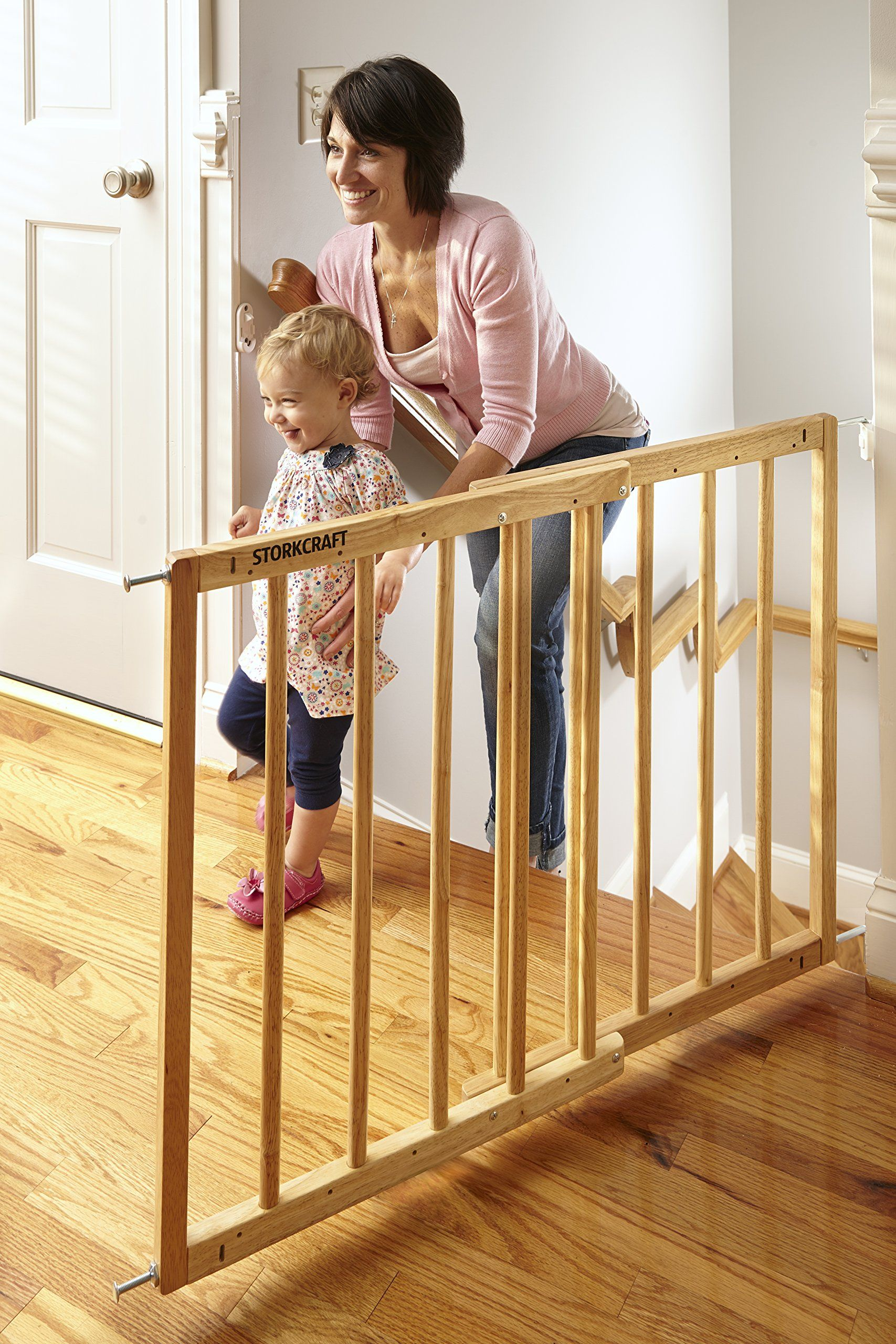 Storkcraft Easy Walkthru Wooden Safety Gate Natural Adjustable Baby Safety Gate For Doorways And Stairs Great For Chil Baby Safety Gate Baby Safety Patio Doors
