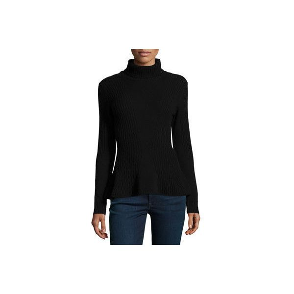 Magaschoni Ribbed Cashmere Turtleneck Peplum Sweater ($350 ...