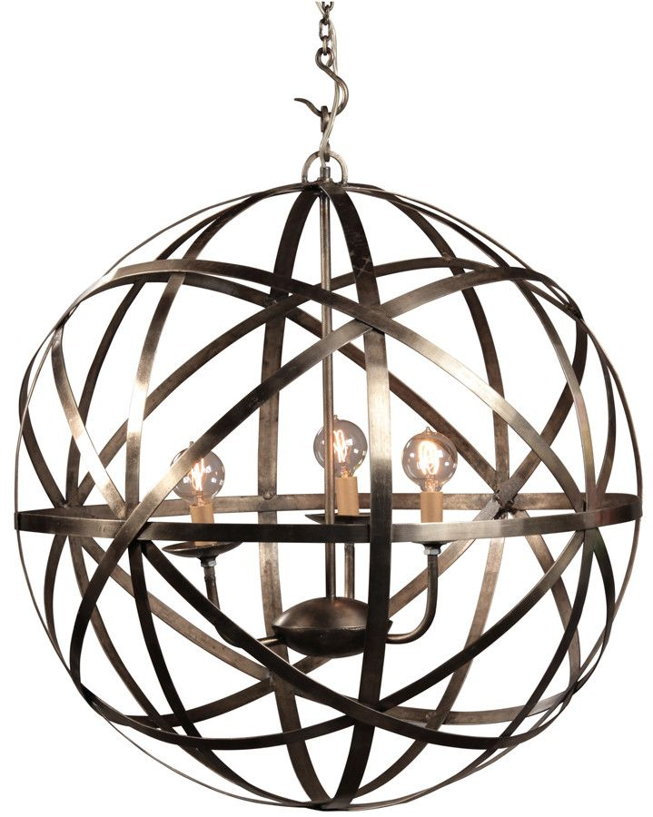 Nickel plated orb chandelier small