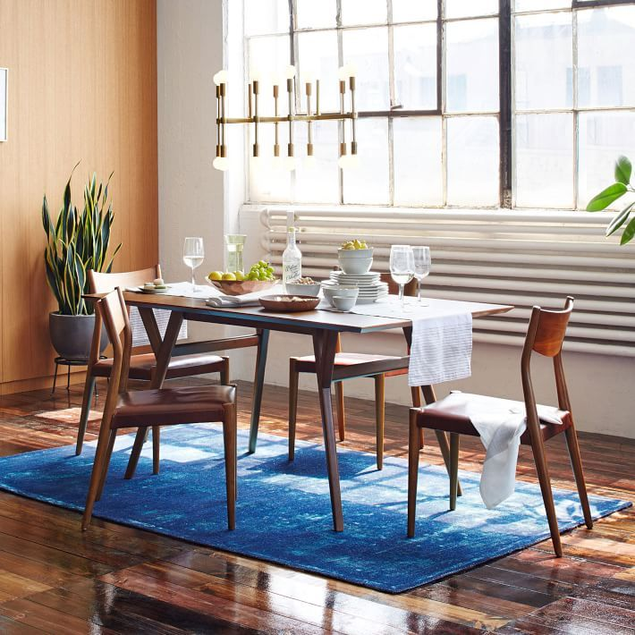 Mid Century Wood Expandable Dining Room Tables For Narrow Spaces And Wooden  Chairs With An Area