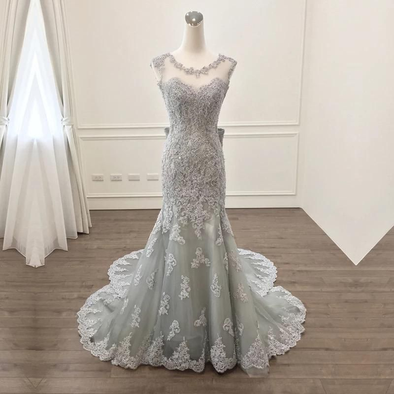 Elegant Silver Lace Bow Back Mermaid Evening Gown Dresses | Mermaid ...